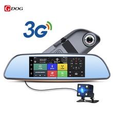 3G Samochód DVR Android 5.0 Bluetooth wifi GPS FM nadajnik z dwoma obiektywami lusterko wsteczne kamery kamera FHD1080P 7 calowy Dotykowy Lustro DVR
