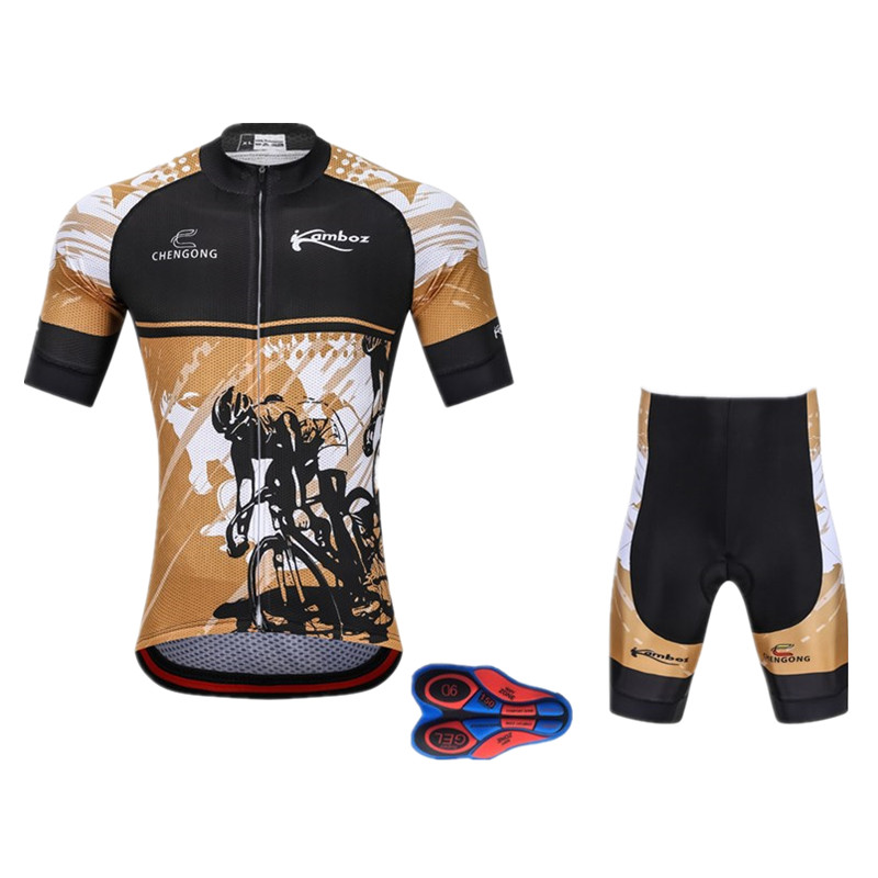2018 New Cool Bicicleta Cycling Jersey Set Men Short Sleeve Sportswear Polyester Summer 9D Bike Cycling Clothing Ropa Ciclismo