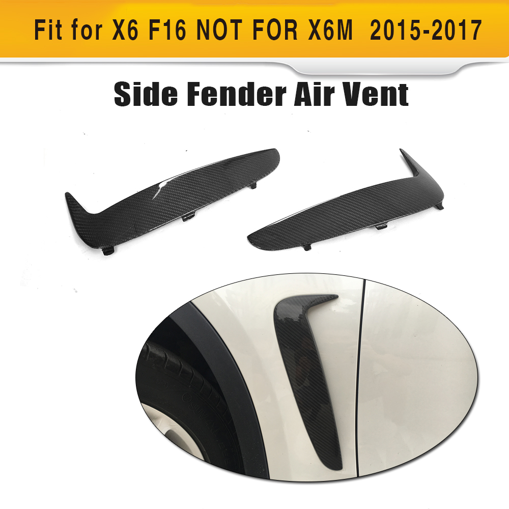 Carbon Fiber Auto Front Air Duct Intake Flow Vents Stickers for BMW X6 F16 SUV 4 Door 2015 2016 2017 Non X6M Car Styling 2PC