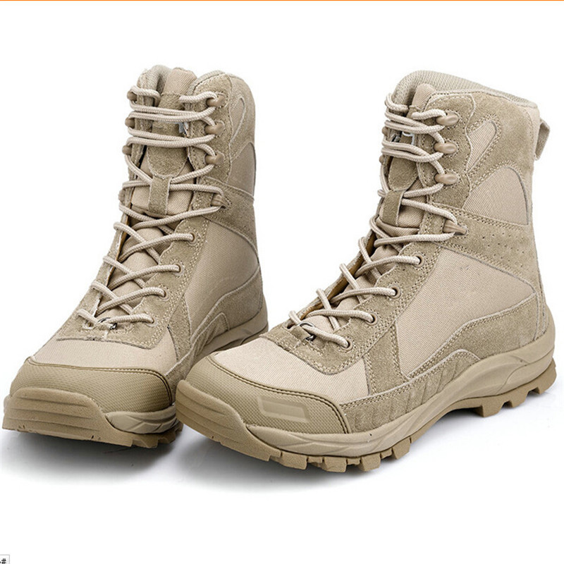 Military Tactical Outfit Desert Men Boots Traveling Hiking Camping Combat High Top Shoes For ...