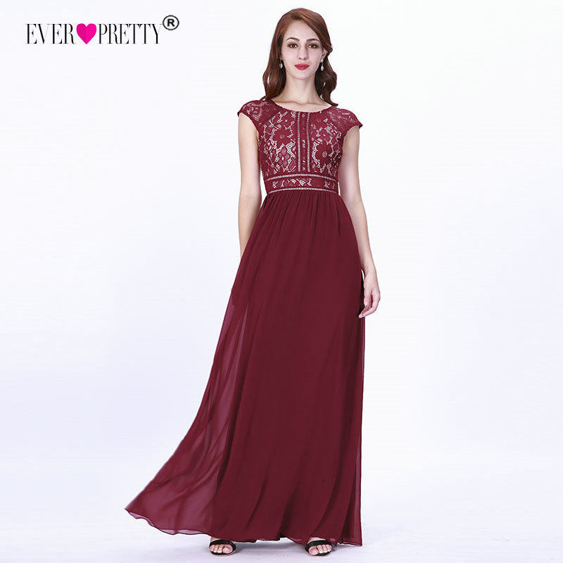 Burgundy Evening Dresses Long 2019 Ever Pretty EZ07718 Women's A-line Chiffon Sleeveless Lace O-neck Robe Soiree Sexy Party Gown