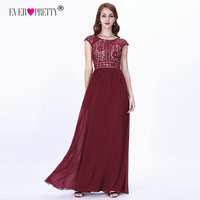 Burgundy Evening Dresses Long 2019 Ever Pretty EZ07718 Women's A line Chiffon Sleeveless Lace O neck Robe Soiree Sexy Party Gown