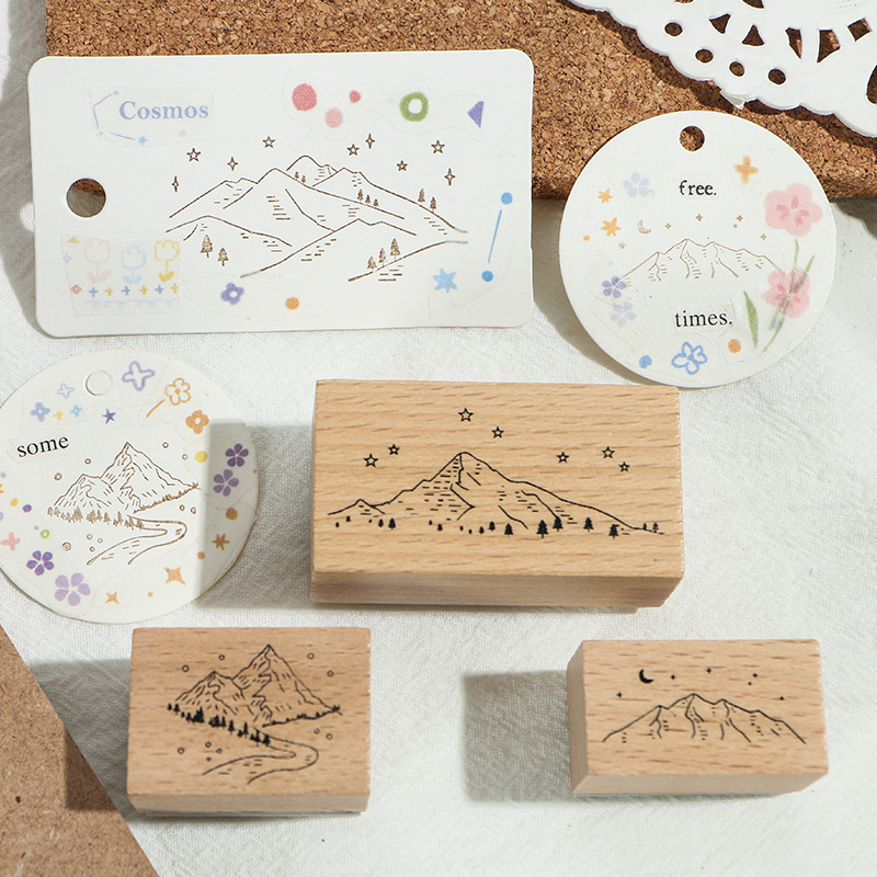 10 pcs/set Retro landscape decoration stamp DIY wooden rubber stamps for scrapbooking stationery scrapbooking standard stamp