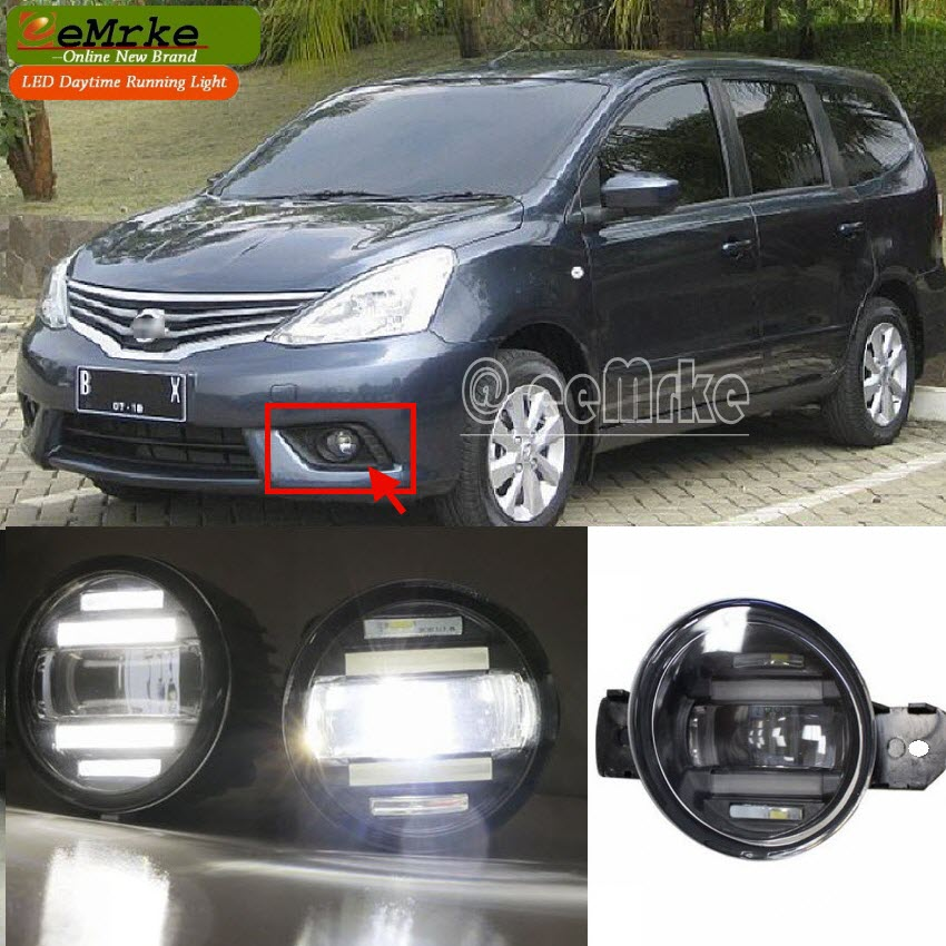 eeMrke Xenon White High Power 2in1 LED DRL Projector Fog Lamp With Lens For Nissan Grand Livina L10 L11 2007-2016 eemrke xenon white high power 2 in 1 led drl projector fog lamp with lens daytime running lights for renault kangoo 2 2008 2015