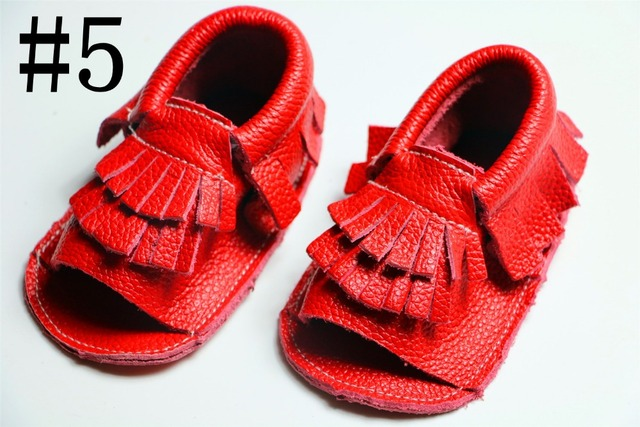 Retail 2016 red spring summer Genuine cow Leather baby boys girls shoes First Walkers Toddler baby moccasins for new born babies