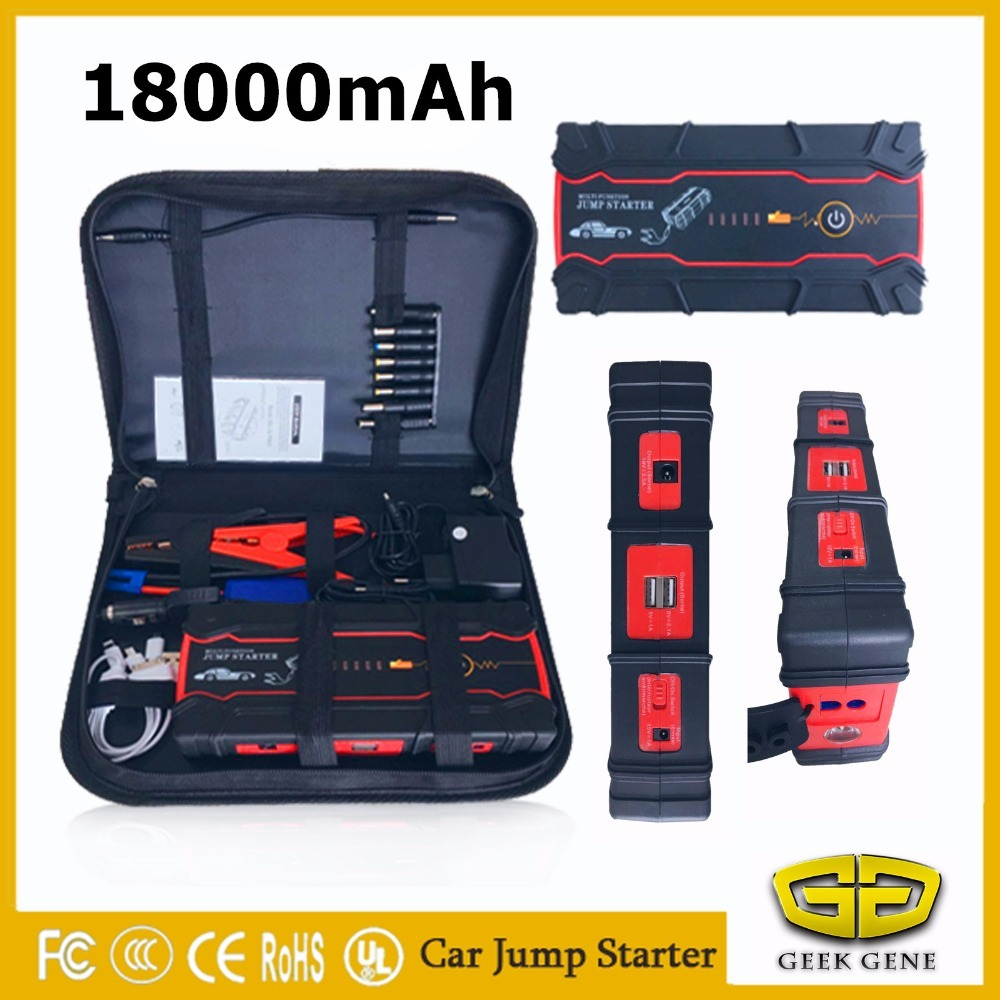 2018 Starting Device 18000mAh Petrol Diese Car Jump Starter Power Bank 12V 800A Car Charger For Car Battery Booster Buster LED multi function car jump starter for 12v diesel petrol car battery booster charger portable 400a starting devcie power bank led