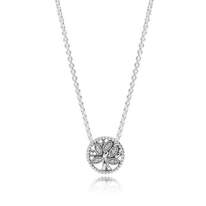 2019 новый 925 пробы серебро Pandora жизнь дерева цепочки и ожерелья оригинальный для женщин Свадьба День рождения подарок DIY ювелирные украшения
