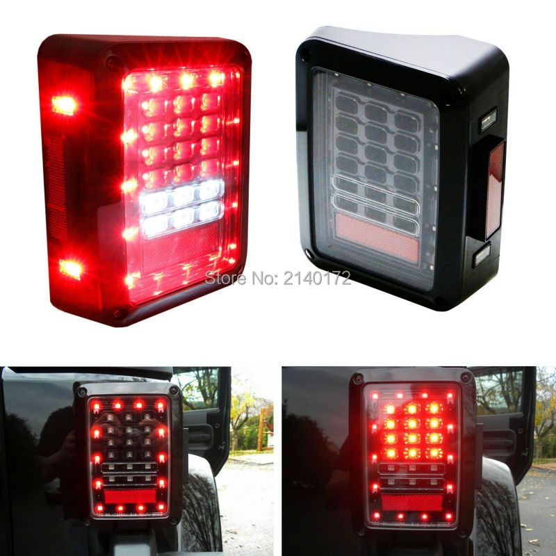 For Jeeps Wrangler PMMA Lens 07-15 JK LED Brake tail lights Bulb Assembly Conversion Rear Turn Singal Reverse Lights 1pair led side maker lights for jeeep wrangler amber front fender flares parking turn lamp bulb indicator lens