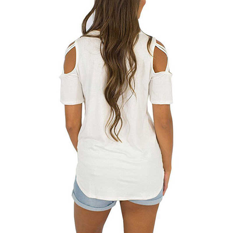 Donne T Shirt Manica Corta Magliette E Camicette Cinghietti Freddo Spalla Top Tee Delle Donne Manica Corta O-Collo Casual Top Magliette Più Il Formato abbigliamento donna