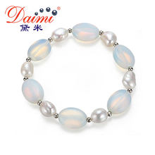 DMBFP082 9-10mm Trendy Bracelet Baroque Pearl & Moon Stone Elastic Bracelet Natural White Pearl Wholesale Price(China)