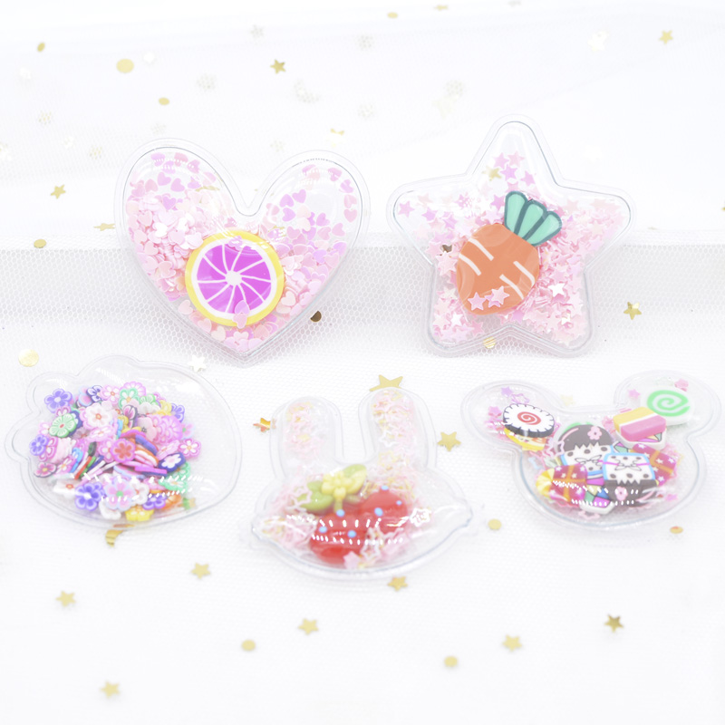 5Pcs Filling Sequins Clay Appliques Star/Mouse/Heart/Rabbit/Strawberry For DIY Headdress Hair Clips Band Accessories Patches H46