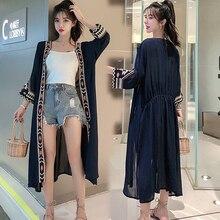 цены на Plus Size Chiffon Long Sheer Beach Casual Kimono Cardigan Women Blouse Shirt Floral 2019 Summer Vintage Black Cardigans Clothing  в интернет-магазинах
