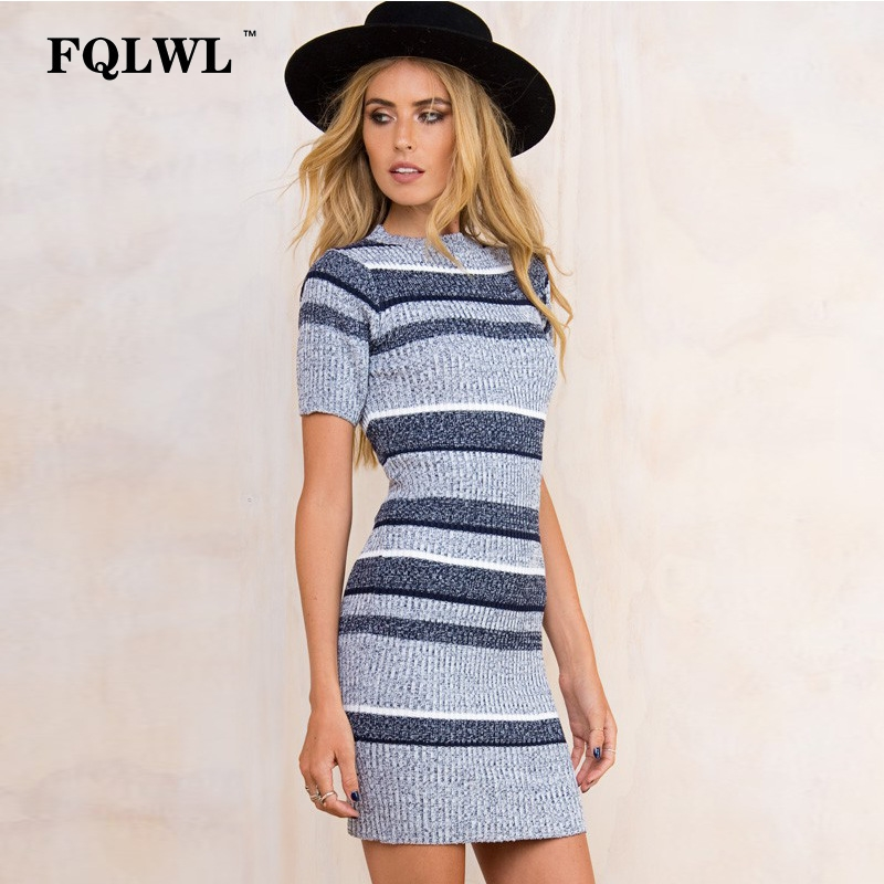 FQLWL Women Sweaters Dresses 2018 Spring Striped Knitted Bodycon Sleeve Mini Girls Dress Party Skinny Elegant Dresses Vestidos