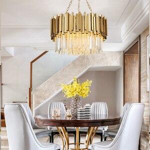 Image 2 - Lustre en cristal moderne de salon, lustre en cristal doré pour salle à manger lustre en cristal à petites lumières lustre en cristal à éclairage luxueux