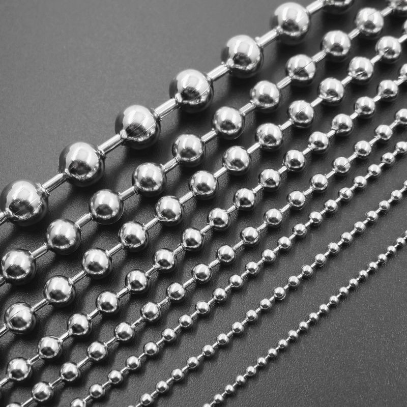 1.5/2/2.4/3/4/5/6/8mm Stainless Steel Keychain, Bead Ball Dogtag Chain, Floating Locket Necklace Fashion Jewelry Parts(China)