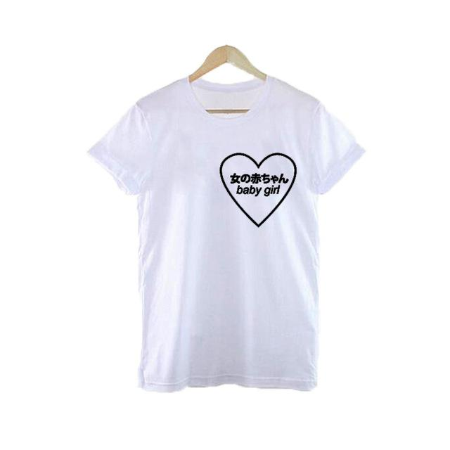 694a6d45e Heart sharp baby girl t shirt harajuku tumblr japanese shirt grunge ...