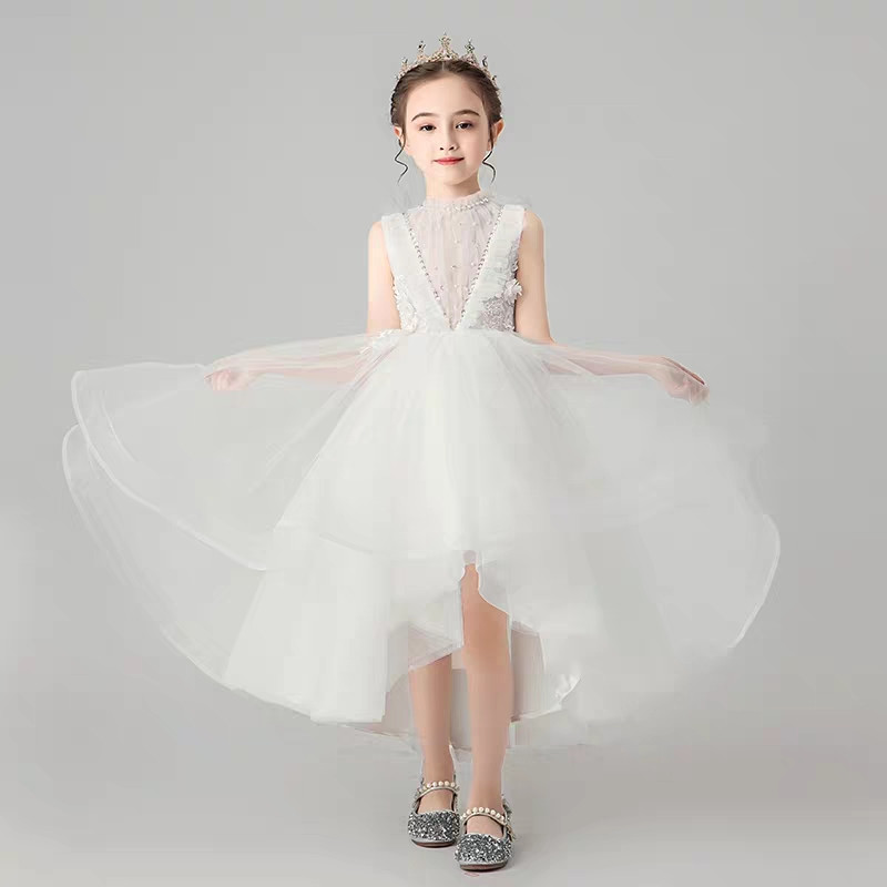 Image 2 - Children Little Girls Solid White Birthday Holiday Party Front 