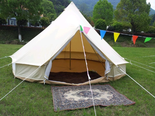 4M oxford canvas Outdoor c&ing bell tent waterproof canvas tent : waterproof canvas tent - memphite.com
