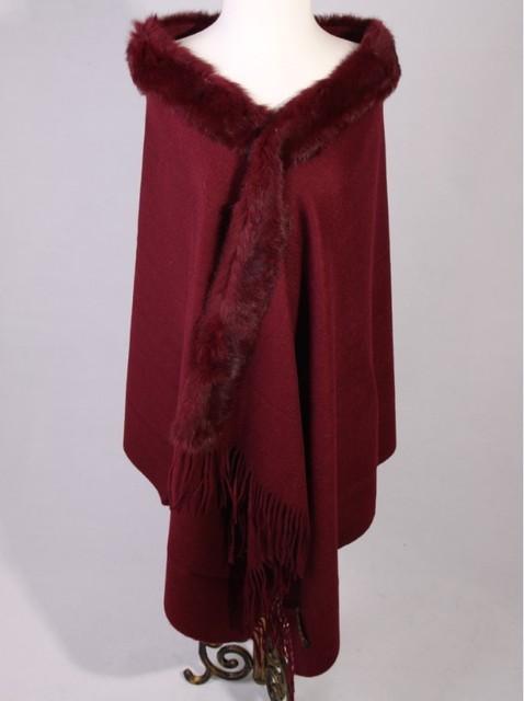 Borgonha Mulheres Outono Inverno 100% Lã Cashmere Rabbit Fur Xaile Scarf Grosso do Envoltório Quente Mujer Bufanda Chal Tamanho 70x200 cm Jsh002C