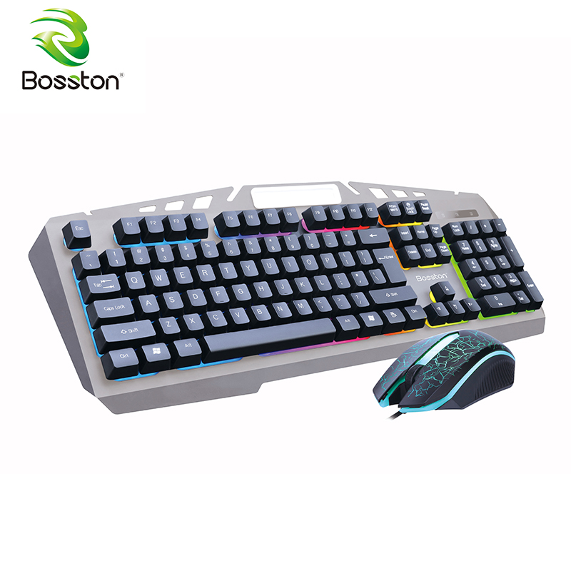 цены Bosston 8350 Mechanical Feel USB Wired Backlight 104 Keys Gaming Keyboard and Mouse Set with phone holder