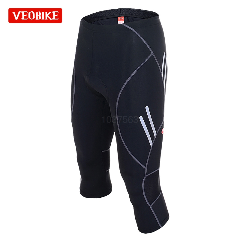 VEOBIKE Top Grade Cycling Tight Pants Gel Padded Bike Bicycle Mtb Sports 3/4 Capri Pants Breathable Quick Dry Shorts For Men west biking mtb road bike jacket 3d gel padded bicycle pants breathable quick dry cycling clothing bicycle bike jersey pants