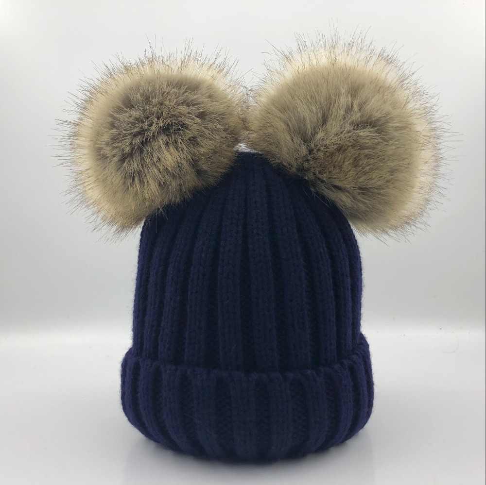 Kids Winter Knitted Cap Boys Girls Wool Beanie Hat Double Faux Fur Pom Pom