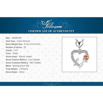 Heart Rose Silver Pendant Necklace  5