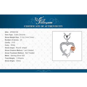 Image 5 - JPalace قلادة فضية وردية على شكل قلب من الفضة الخالصة عيار 925 قلادة للسيدات من الفضة عيار 925 مجوهرات بدون سلسلة