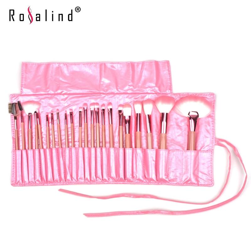 Rosalind 22pcs   Makeup Set Cosmetic Brush Kit Makeup Tool  Make up Brushes with Pink Roll up Leather PU Bag Beauty  12 pcs cosmetic pu brush bag horsehair makeup brushes set