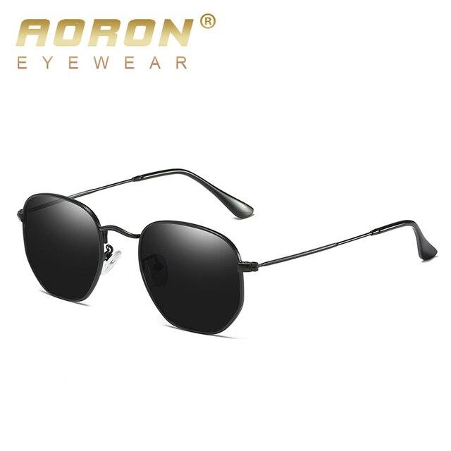 e70d4c8ca Hexagonal AORON Designer de Marca Do Vintage Óculos De Sol Das Mulheres Dos  Homens Retro oculos