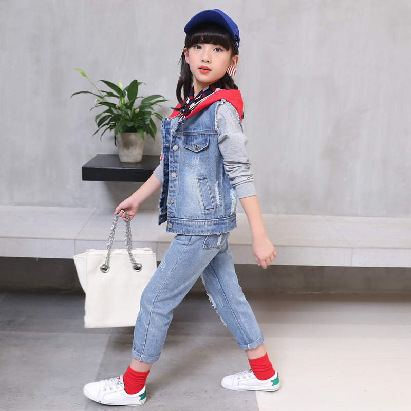 2018 new fashion baby girl clothes spring and autumn girls denim hooded coat + holes jean trousers body suit girl clothing sets 2014 spring autumn new fashion girls sports suits zipper coat trousers flowers print big girl clothes sets children sportswear