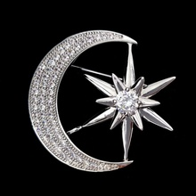 Micro Pave CZ Crescent Moon and Star Brooch