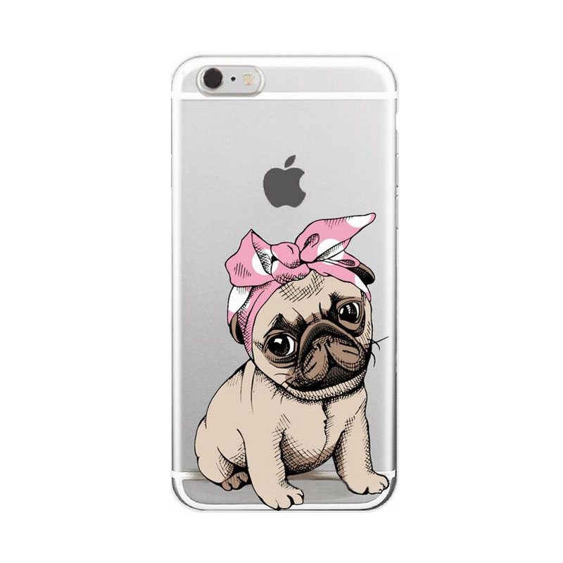 2107 Fashion cartoon animals polka dot bulldog sunglasses imperial crown christmas hat dog cat clear soft tpu case For Iphone