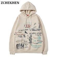 Harajuku Hip Hop Ego Cactus Graffiti Print Fleece Hooded Hoodies Pullover Sweatshirt Streetwear Men Fashion Casual Tops