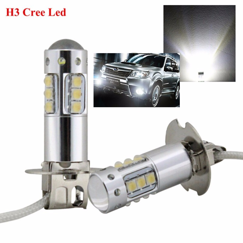 2Pcs/Lot New High Power H1 <font><b>H3</b></font> <font><b>LED</b></font> 80W Super Bright White 6000K <font><b>CREE</b></font> Chips <font><b>Led</b></font> Fog Light Bulb Car Auto Driving DRL lamp image