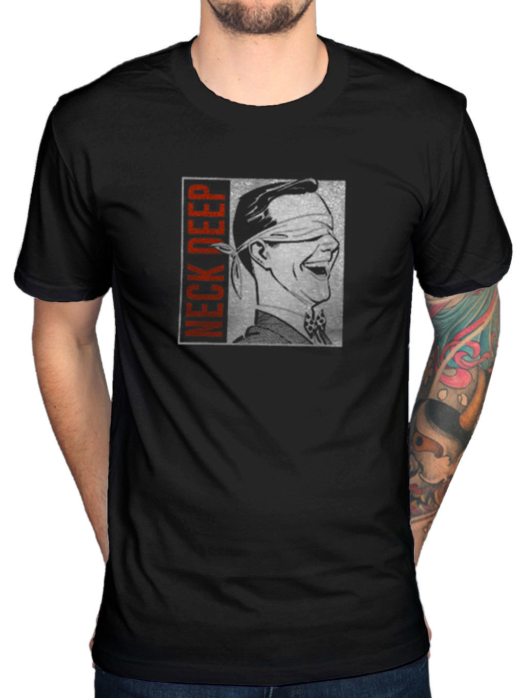 Mens 100% Cotton Short Sleeve Print Official Neck Deep Blindfold T-Shirt The Peace And The Panic Wishful Thinking