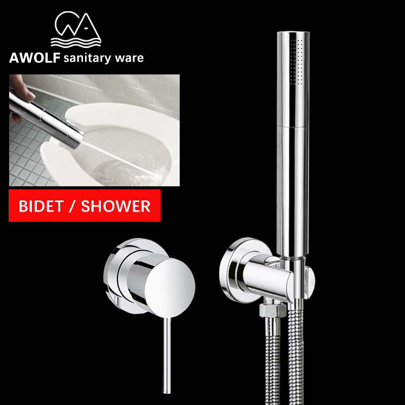 HandHeld Toilet Bidet Sprayer Shower Set Hot Cold Water Mixer Two Function Solid Brass Douche Kit Shattaf Chrome Bathroom AP2164-in Bidets from Home Improvement    1