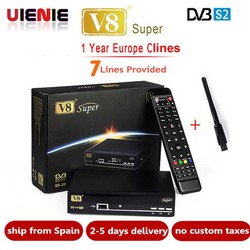 Satellite Receiver Freesat V8 Super DVB-S2 with 1 Year Europe Cccam 4clines Full HD 1080P and USB WIFI Spain French UK Germany