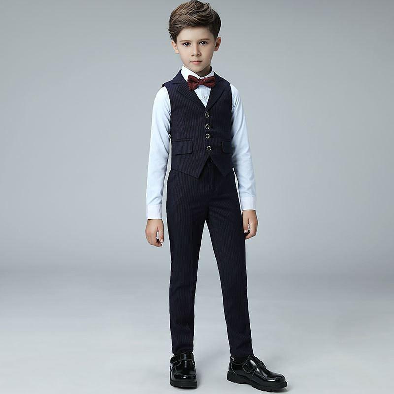 Nouveau bébé garçon costume pour mariage Piano fête enfants garçons gilet + noeud papillon + pantalon + chemise 4 pièces enfants garçons costumes ensembles de vêtements formels Y107
