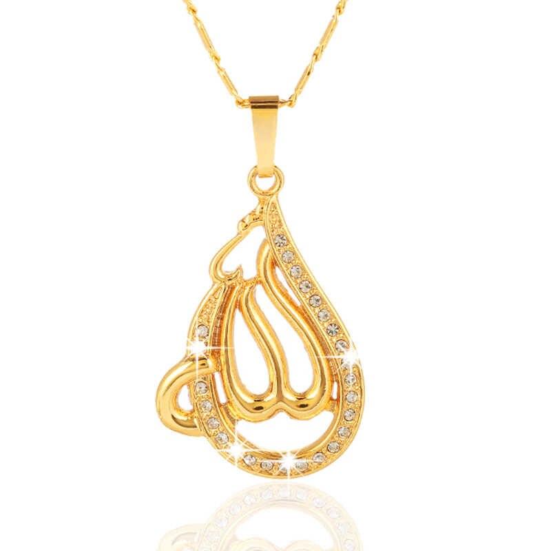SONYA muzułmanin złoto/srebro/różowe złoto kolory bóg Allah naszyjnik islamskich kobiet urok biżuteria miedź łańcuszki na szyję