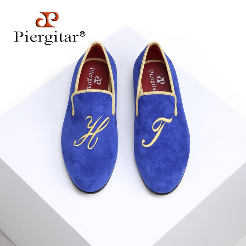 c8bc460b46171 Piergitar 2018 New style fashion men loafers with Personal letters  embroidery Handmade gold outsole men's velvet shoes big size