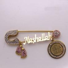 turkish evil eye Koran four Qul suras Mashallah Stainless steel brooch muslim islam baby pin