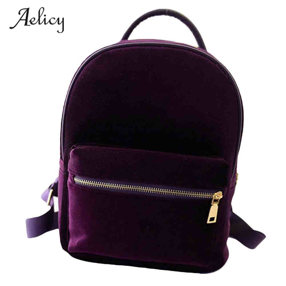 Aelicy Velvet Backpack Bags Schoolbag Small Female Casual Fashion Women Zipper Mochila