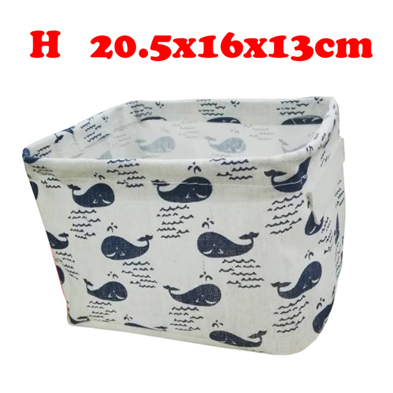 Настольный ящик для хранения с милым принтом, водонепроницаемый органайзер, хлопок, лен, корзина для хранения мелочей, шкаф, нижнее белье, сумка для хранения - Цвет: H