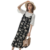 2018 Fashion Large Size Women lotus Sleeve Chiffon Shirt + Floral Vest Dress Two Piece Sets Summer Women's Suits A137