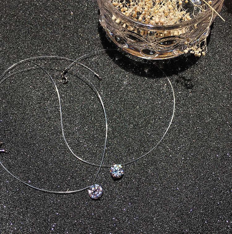 Musim Panas 925 Perak Stereo Line Transparan Memancing Siluman Kalung Bola Salju Kristal dari Swarovskis Kunci Rantai Hadiah Valentine