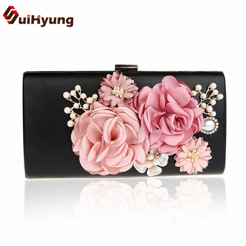 2017 New Women PU Handbags Diamond Pearls Party Evening Bags Small Purse Female Wedding Beaded Flowers Day Clutch Shoulder Bags new women diamond wedding bride shoulder crossbody bags gold clutch tassel evening bags party purse banquet handbags mujer yh50