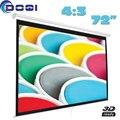 72 polegadas 4:3 Manual de travamento automático tela de projeção branca fosca pantalla proyeccion para HD projetor Pull Down tela de cinema