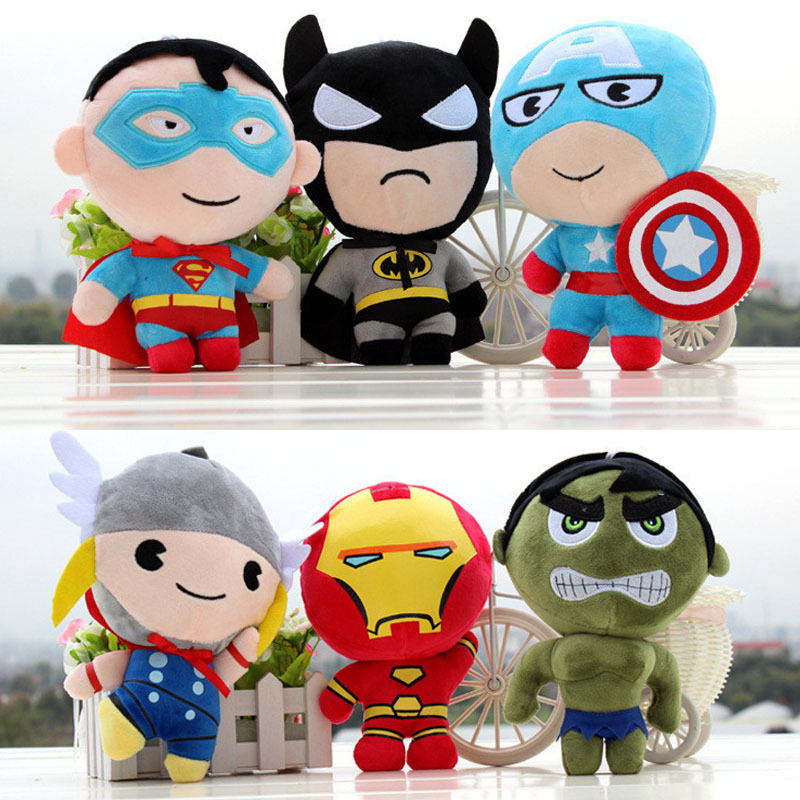 Super Heroes Plush Toys The Avengers Thor Spider-man Captain America Iron Man The Hulk Batman Anime Action Figures Doll Toy Kids famous brand school backpack the avengers captain america iron man fashionable laptop backpacks high quality leather