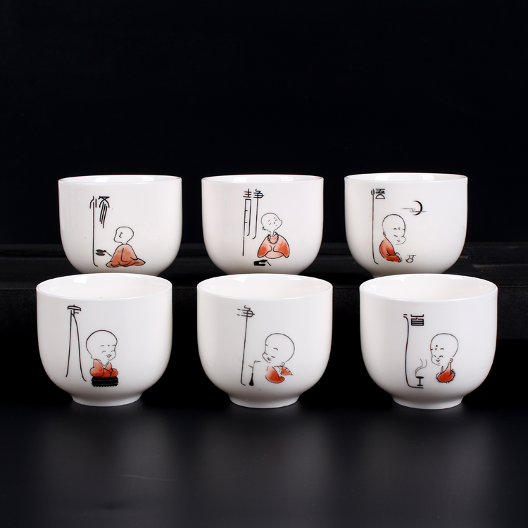 Jingdezhen 6pcs/lot Kung Fu Tea Cup Set Hand Painted Travel Chinese Porcelain Coffee cup Sets Ceramic Yixing Clay Tea Service